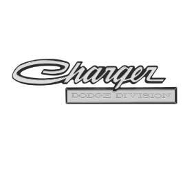 """Dante's Mopar Parts - Mopar Emblem """"Charger Dodge Division"""" 1971 Charger trunk lid - Image 1"""