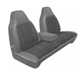 Dante's Mopar Parts - Mopar Seat Covers 1973 Dart Swinger, Dart Custom 4-dr & Scamp Front Split Bench with Center Armrest