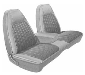 Dante's Mopar Parts - Mopar Seat Covers 1973 Charger SE B body Front Split Bench with Center Armrest - Image 1