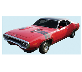 Dante's Mopar Parts - Mopar Stripe Kits 1971 GTX Decal & Hood-Fender Stripe (Non Air GrabberCars) - Image 1