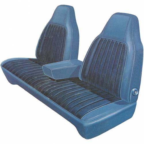 Legendary Auto Interiors - Mopar Seat Covers 1974-76 Dodge Dart Custom 4-dr & Plymouth Valiant 4-dr Front Split Bench with Center Armrest