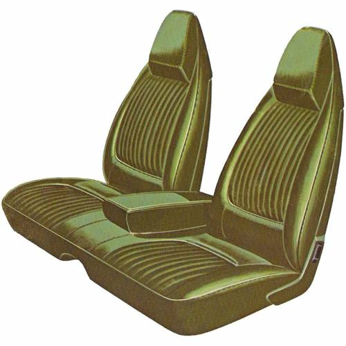 Dante's Mopar Parts - Mopar Seat Covers 1971 Dodge Challenger Deluxe Style E-body Front Split Bench with Center Armrest
