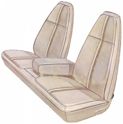 Dante's Mopar Parts - Mopar Seat Covers 1971 Plymouth Barracuda & Cuda Standard Style  Front Split Bench with Center Armrest