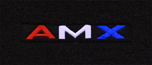 "Dante's Mopar Parts - Mopar Carpeted Floor Mats ""AMX in Red,White,Blue"" Logo - Image 1"