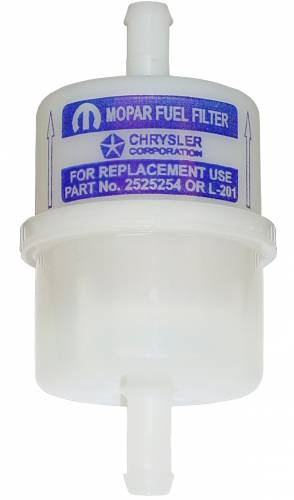 "Dante's Mopar Parts - 1963-1967 & 1968 Super Stock Mopar Gas Plastic 5/16"" Fuel Filters Dark Blue logo"