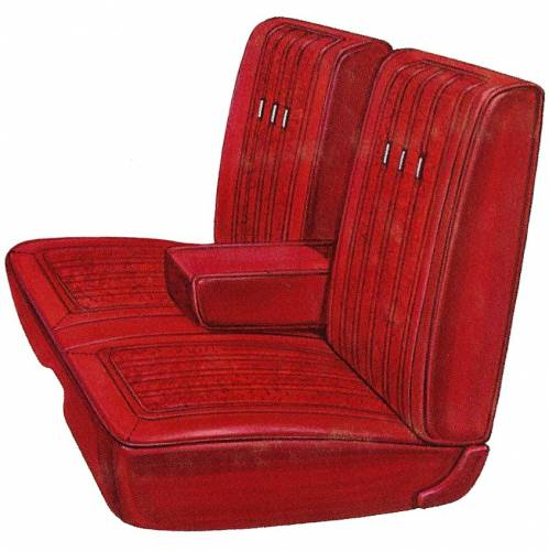 Dante's Mopar Parts - Mopar Seat Cover 1969 Plymouth Fury III 2 & 4 Door Front Split Bench with Center Armrest