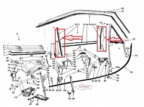 66-70 B-body rear channel seals